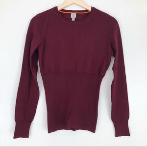 TRISTAN Burgundy Fitted Sweater with Puffy Sleeves